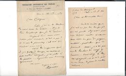 AMILCARE CIPRIANI  1843 Anzio  1918 Paris 2 Lettres  Autographe 1888 - 1890 Au Général Bordone - Autographs