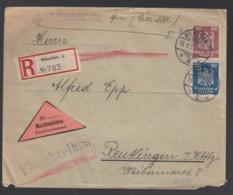 Deutsches Reich Einschreiben Nachnahme Brief 1926 München Nach Reutlingen Lot 1598 - Germany