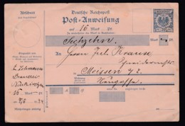 Deutsches Reich Ganzsache Post-Anweisung A9 Krone-Adler 1894 Ausgefüllt, Nicht Abgegeben Lot 1642 - Ganzsachen