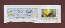 ILE DE LA REUNION - Fleur  Mahot Rempart - Lettre Verte Avec Une Vignette D'affranchissement De 0,04€ - France