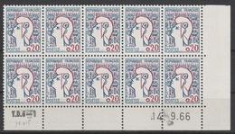 1282a 0.20c MARIANNE COCTEAU TYPE II - Bas De Feuille De 10 Daté 14.9.66 - 1960-1969