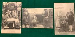 Jean Rameau, Chansons Illustrées - La Tentation - Paysans Berrichons -  Le Chasseur - 1920-1903's - 3 Cartes Postales - Musique