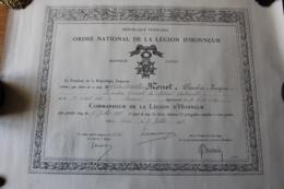 Diplome De La Legion D'Honneur  Commandeur  Colonel D'artillerie 1927 - Diplomas Y Calificaciones Escolares