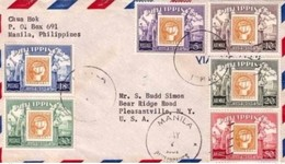 Philippines 1954 Stamp On Stamp Issues On Cover To USA - Filipinas