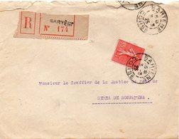 Lettre Recommandée 20 CORSE SARTENE Pour ERRA DI SCOPAMENE Oblitération Type A3 SARTENE 3/3/1925 Sur 85 C Semeuse - Storia Postale