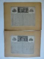 ALMANACH  1851  CALENDRIER SEMESTRIEL  Qté 2 Allégorie Histoire  Le  Jeux Sociétés  Lithographie - - Calendriers