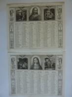 ALMANACH  1850  CALENDRIER SEMESTRIEL  Qté 2 Allégorie Religieuse Jesus Et St Pierre Etc  Et Arabesque    Lithographie - - Groot Formaat: ...-1900