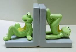 2 GRENOUILLES PRESSE-LIVRE En Plâtre Verni - Bibelot Animaux Grenouille - Animals