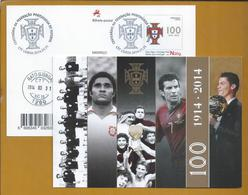 Eusebio. Fig. Ronaldo's Gold Ball. Soccer. Postal Stationery Of 100 Years Of Portuguese Football Federation. Fußball. - Brieven En Documenten