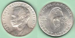 1953-MN-123 CUBA REPUBLICA 25c KM 27 1953. CENTENARIO DE JOSE MARTI 6,5 Gr. BRILLO ORIGINAL. - Cuba