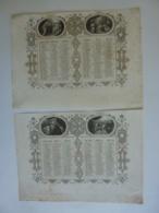 ALMANACH  1851  CALENDRIER SEMESTRIEL  Qté 2 Allégorie Religieuse   Arabesque   Lithographie - - Calendriers