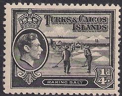 Turks & Caicos 1938 - 45 KGV1  1/4d Black Raking Salt MM SG 194 ( M1212 ) - Turks E Caicos