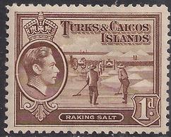 Turks & Caicos 1938 - 45 KGV1  1d Brown Raking Salt MM SG 196 ( M1211 ) - Turks E Caicos