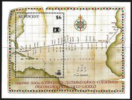 St. Vincent 1992 Scott 1638 MNH Sheet America, Columbus, Map - St.Vincent (1979-...)