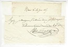 Jean-Baptiste Girard (1775-1815) GENERAL EMPIRE 16 JUIN 1815 AUTOGRAPHE ORIGINAL AUTOGRAPH /FREE SHIP. R - Autographes