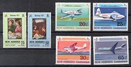 NOUVELLES  HEBRIDES      Timbres Neufs ** De 1971-1972  ( Ref  6186 )    Noël - Avions - Leyenda Inglesa