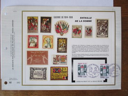 BATAILLES DE LA SOMME 1916 11 NOV 76 80 AMIENS 1914  AVIATION MILITAIRE 1918 14 NOV 76 80 AMIENS FEUILLET ARTISTIQUE N°3 - Marcophilie (Lettres)