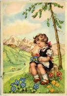 MARIAPIA  Bambina Seduta Sul Tronco Sistema I Fiori Raccolti  Panorama Alpino - Illustratori & Fotografie