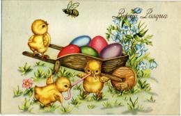 BUONA PASQUA  Pulcini Si Contendono Lombrico  Carriola Di Uova Colorate  Ape - Pasqua