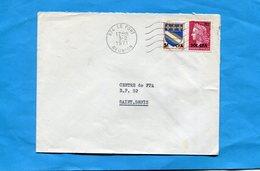 Marcophilie-Réunion -lettre >France -cad Le Port -1971-stamp N°385 20frs CFA Marianne De Cheffer +5frs CFA Troyes - Reunion Island (1852-1975)
