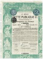 Obligation Ancienne - Royaume De Belgique - 2ème Série DETTE PUBLIQUE 3% 1925 - Titre Original -Déco - Actions & Titres