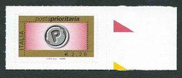 Italia 2008 ; Posta Prioritaria Senza Millesimo Da € 2,20 . Francobollo Di Bordo Destro. - 6. 1946-.. Repubblica