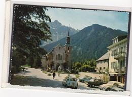 CHAMONIX MONT BLANC , L'EGLISE,RENAULT, AUTO, VOITURE, AGENCE DE TUNNEL, HOTEL , TELEFERIQUE, A150-50 - Chamonix-Mont-Blanc