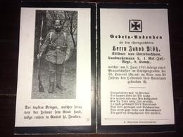 Sterbebild Wk1 Ww1 Bidprentje Avis Décès Deathcard RIR1 St. Laurent ARRAS Aus Unterbachham 5. Juni 1915 - 1914-18