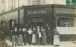 """CARTE PHOTO : PARIS DEVANTURE """" DUMESNIL """" CAFE RESTAURANT ANGLE AVENUE DE LA REPUBLIQUE 75011 - District 11"""