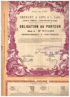 Obligation Ancienne - Ville De Paris - Emprunt à Lots 4% 1931 - Titre Original - Déco - Actions & Titres