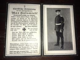 Sterbebild Wk1 Ww1 Bidprentje Avis Décès Deathcard Fuss AR3 Strassburg STRASBOURG CRONENBOURG Block 5 Grab 27 Fürholz - 1914-18