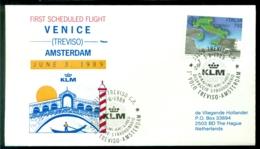 Italie 1989 Envelop Eerste KLM Lijnvlucht Met Fokker 100 Venetië - Amsterdam VH A 1110 - 6. 1946-.. Repubblica