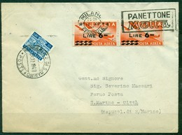 Z77 ITALIA REPUBBLICA 1949 Lettera Affrancata Con Democratica PA 6 L. X 2, Da Milano 12.12.49 Per San Marino, Tassata - 1946-.. République