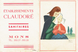 Calendrier 1952 PUB Sanitaires Mons  Illustration Marthe Bland - Calendriers