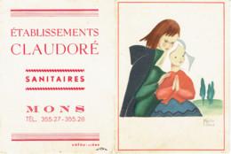Calendrier 1952 PUB Sanitaires Mons  Illustration Marthe Bland - Calendarios