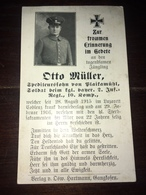Sterbebild Wk1 Ww1 Bidprentje Avis Décès Deathcard IR2 COBLENZ Aus Plaikamühl - 1914-18