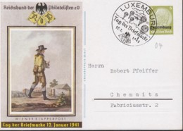 DR Besetzung LUXEMBURG  P 4, Mit Sonderstempel: Luxemburg Tag Der Briefmarke 12.1.1941 - Occupation 1938-45