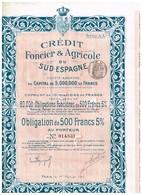 Obligation Ancienne - Crédit Foncier & Agricole Du Sud Espagne - Obligation  5 % 1920/1960 - Banque & Assurance