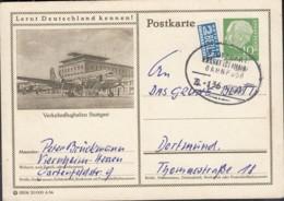 BRD P 23.115, 15106 6.54, Bildpostkarte: Stuttgart Verkehrsflughafen, Bahnpost St: Stuttgart-Frankfurt Zug 136-21.2.55 - BRD