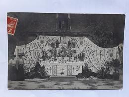 Superbe Et Rare Carte Photo Commune De DORNES Représentant Un Reposoir - France