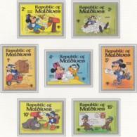 MALEDIVEN 848-854, Postfrisch **, Walt-Disney-Figuren: Mickey Mouse, Goofy, Pluto, Donald Duck 1979 - Disney