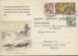SCHWEIZ  P 213/010, Mit ZFr., Gestempelt: Zürich 13.VI.1949, 100 Jahre Eidgenössische Post - Ganzsachen
