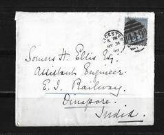 1898 GROSSBRITANNIEN → Brief Leicester Nach Dinapore Indien - 1840-1901 (Victoria)