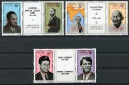 Cameroun, 1969, Space, Apollo 11, Gandhi, Kennedy, Luther King, MNH Overprinted Strips, Michel 592-597 - Cameroun (1960-...)