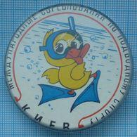 USSR / Soviet Union / UKRAINE / Badge / Diving. Underwater Sport. International Competitions. Kiev Kyiv. Duck. - Diving