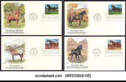 UNITED STATES - 1985 HORSE / ANIMAL - SET OF 4 FDC - Briefmarken