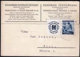 Germany Bohemia & Moravia Bohmen Und Mahren Kleintscherma 1941 / German Red Cross, Rote Kreuz / Danubius Textilwerke - Occupation 1938-45
