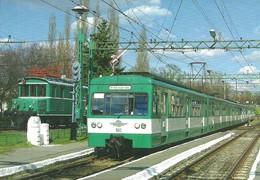 RAIL RAILROAD TRAIN COMMUTER RAIL SUBURBAN RAILWAY LOCOMOTIVE BHEV MXA HEV BKV CINKOTA BUDAPEST Top Card 0426 * Hungary - Trains