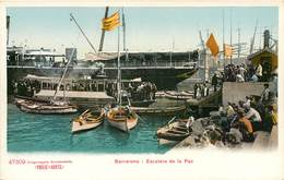 BARCELONA ESCALERA DE LA PAZ PUERTO ESPANA PHOTOCHROME 1900 - Barcelona