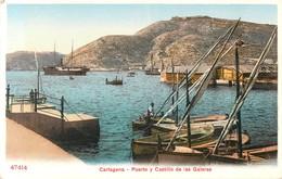CARTAGENA PUERTO Y CASTILLO DELAS GALERASESPANA  PHOTOCHROME 1900 - Murcia